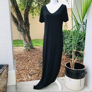 BANANA REPUBLIC black vneck maxi dress knit M